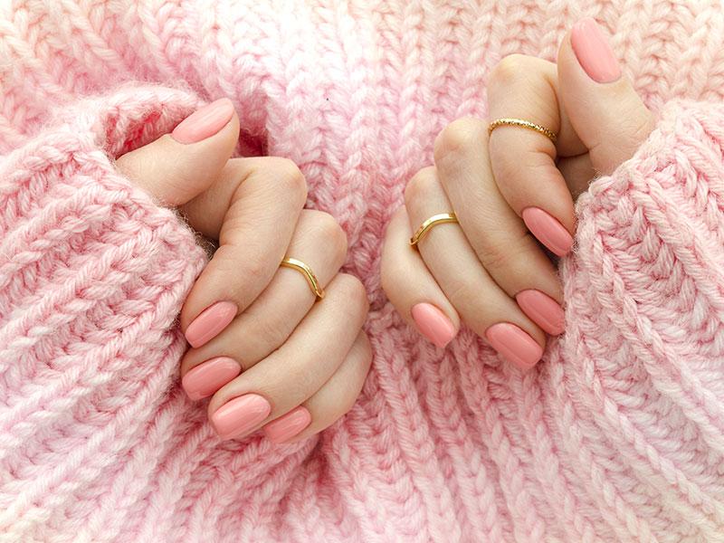 Pink Peach Gel Nails