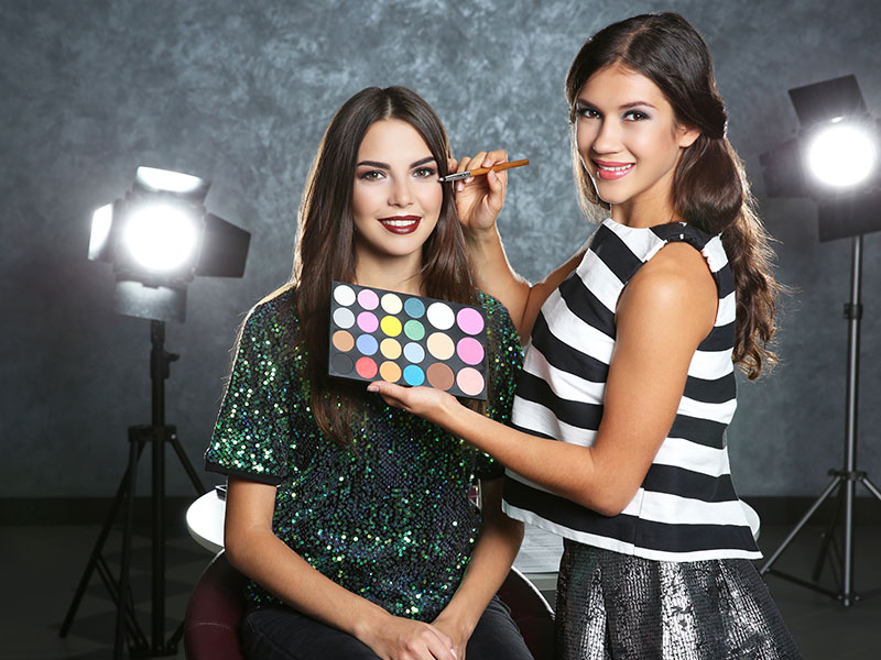Professional Makeup Artist And Client